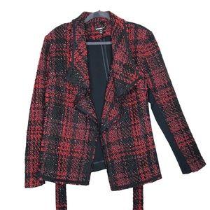 Lane Bryant Red Black Plaid Wrap Blazer Jacket